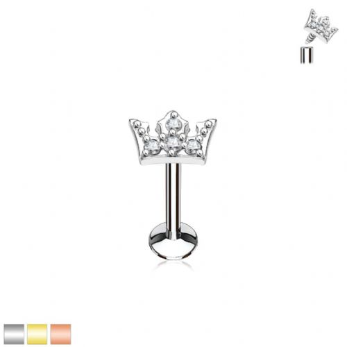 Internally Thread Cartilage Bar With Gem Crown Top